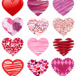 Vector Collection of Stylized Hearts  — Stock Vector