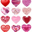 Vector Collection of Stylized Hearts - Stock Vector