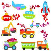 Valentine's Day Themed Cartoon Transportation Set — Stock Vector