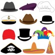 Vector Collection of Hats or Photo Props — Stock Vector