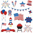 Vector Collection of Fourth of July Items - Stok Vektör