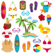 Stock Vector: Vector Collection of Beach and Tropical Themed Images