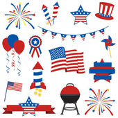 Vector Collection of Fourth of July Items — Vector de stock