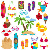Vector Collection of Beach and Tropical Themed Images — Stock Vector