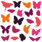 Vector Collection of Butterfly Silhouettes — Stock Vector