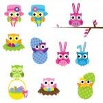 Vector Set of Easter Owls — Stock Vector