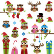 Stock Vector: Vector Collection of Christmas Themed Owls