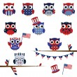 Vector Set of Fourth of July Patriotic Owls — Stock Vector