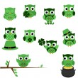 Vector Set of St. Patrick's Day Themed Owls — Stock Vector