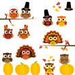 Vector Set of Thanksgiving Themed Owls — Stock Vector #25643291