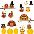 Stock Vector: Vector Set of Thanksgiving Themed Owls