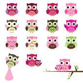 Vector Set of Girl Baby Shower Owls — Stock Vector