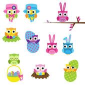 Vector Set of Easter Owls — Stock Vector