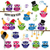 Vector Set of New Year's Celebration Themed Owls — Stock Vector
