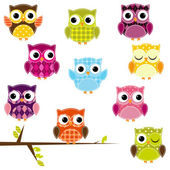 Vector Illustration of Patchwork Owls — Stock Vector