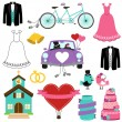 Wedding Themed Vector Set — Stock Vector