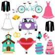 Wedding Themed Vector Set - Stock Vector