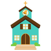 Vector Illustration of a Cute Church or Chapel — Stock Vector