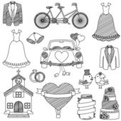 Wedding Themed Doodles — Stock Vector