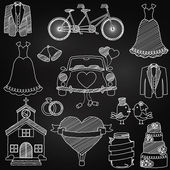 Chalkboard Style Wedding Themed Doodles — Stock Vector