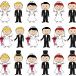 Large Set of Vector Bride and Groom Stick Figures — Stock Vector