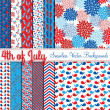 Fourth of July Vector Seamless Tileable Backgrounds — Image vectorielle