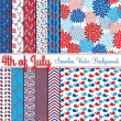 Fourth of July Vector Seamless Tileable Backgrounds — Imagens vectoriais em stock