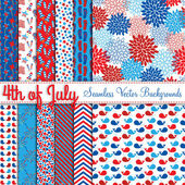 Fourth of July Vector Seamless Tileable Backgrounds — Stock vektor