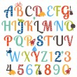 Cute Boy Themed Alphabet Vector Set — Stock Vector