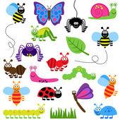 Large Vector Set of Cute Cartoon Bugs — Stock Vector