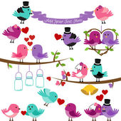 Vector Collection of Wedding and Love Themed Birds — Stock Vector