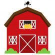 Cute Red Vector Barn with Hay, Weather Vane and Bushes — Stock Vector