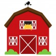 Stock Vector: Cute Red Vector Barn with Hay, Weather Vane and Bushes
