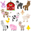 Vector Collection of Cute Cartoon Farm Animals and Barn — Vettoriali Stock