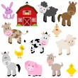 Vector Collection of Cute Cartoon Farm Animals and Barn — Imagen vectorial