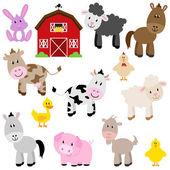 Sevimli çizgi çiftlik hayvanları ve ahır vektör toplama — Stok Vektör