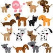 Stock Vector: Vector Collection of Cute Cartoon Dogs