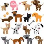 Vector Collection of Cute Cartoon Dogs — Stock Vector