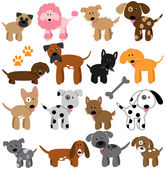 Vector Collection of Cute Cartoon Dogs — Stock Vector