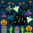 Vector Halloween Set with Scary and Cute Elements — Stock Vector #28249429