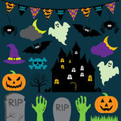 Vector Halloween Set with Scary and Cute Elements — Stock Vector