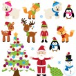 Vector Set of Christmas Animals, Santa Claus and Tree — Stock Vector