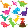 Vector Collection of Cute Cartoon Dinosaurs and a Volcano — Stock Vector