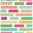 Stock Vector: Vector Collection of Cute Patterned Washi Tape Strips