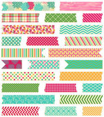 Vector Collection of Cute Patterned Washi Tape Strips — Stock Vector