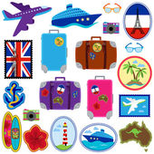 Vector Collection of Travel Stickers, Stamps, Badges and Elements — Stock Vector
