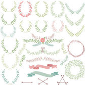 Vector Collection of Laurels, Floral Elements and Banners — Stock Vector