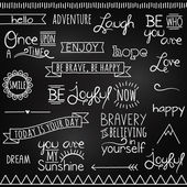 Hand Drawn Chalkboard Style Words, Quotes and Decoration — Stock Vector