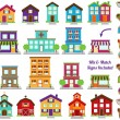 Vector Collection of City and Town Buildings, including various signs — Stock Vector