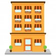 Vector Apartment Building on Street — Stock Vector